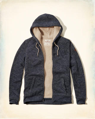 Textured Sherpa Lined Hoodie