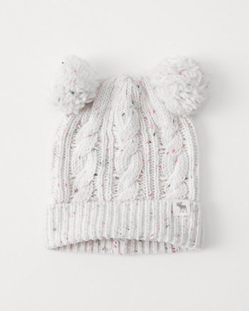 kids cable knit pom beanie