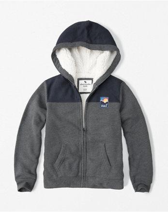 kids sherpa zip-up hoodie