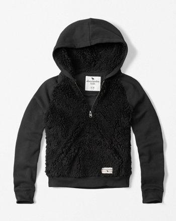 kids half-zip sherpa hoodie