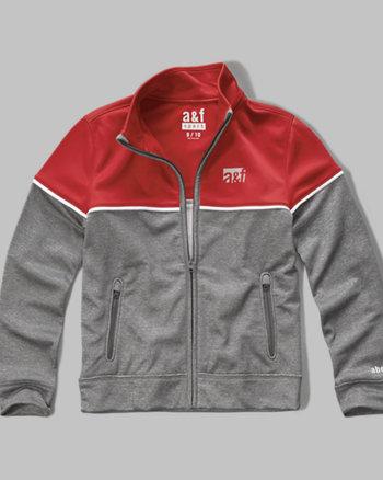 kids a&f sport colorblock mock neck full zip jacket