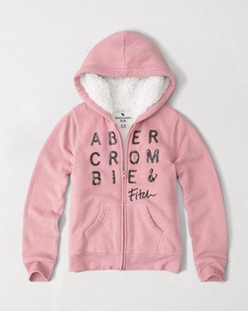 kids shine logo sherpa fleece hoodie