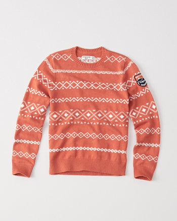 kids orange intarsia crew sweater