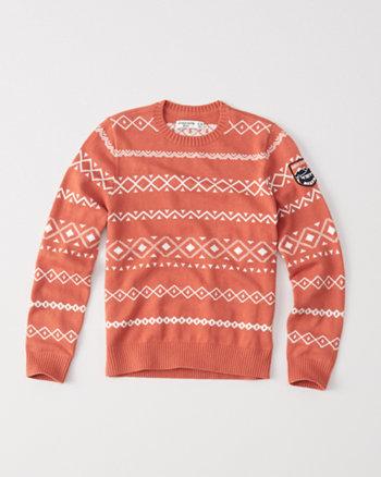 kids orange intarsia crew sweater