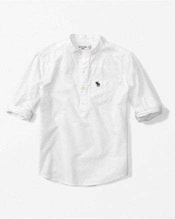 kids mandarin collar poplin popover shirt