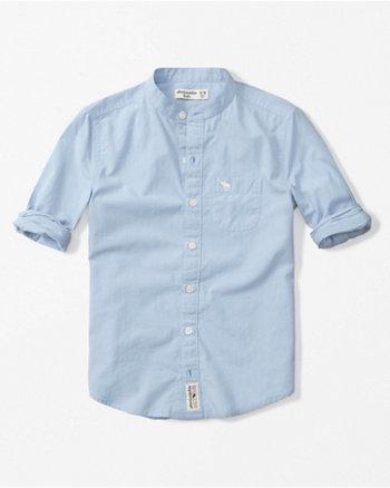 kids mandarin collar poplin shirt
