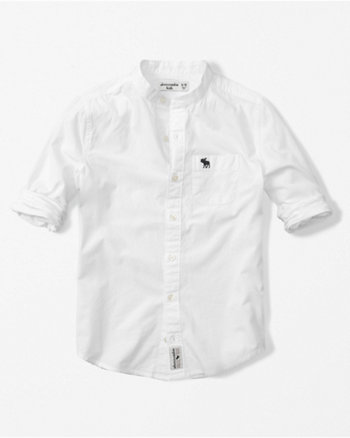 kids mandarin collar poplin shirt