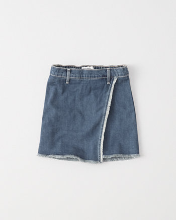 kids denim wrap a-line skirt