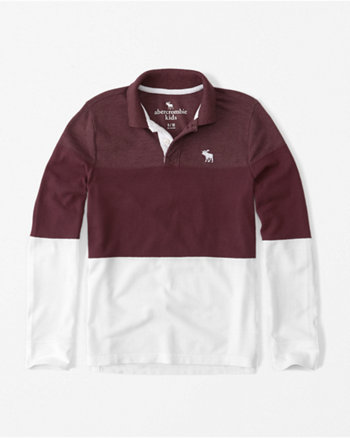 kids colorblock long-sleeve polo