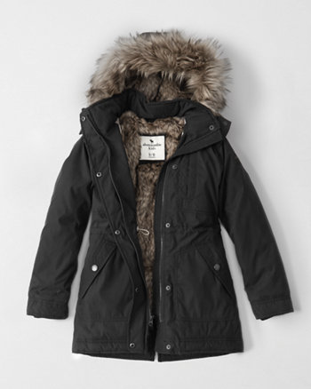 kids faux fur twill parka jacket