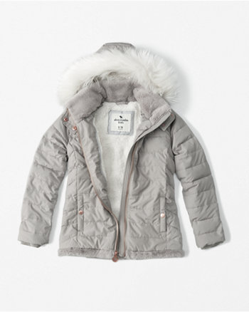 kids faux fur-trim puffer coat