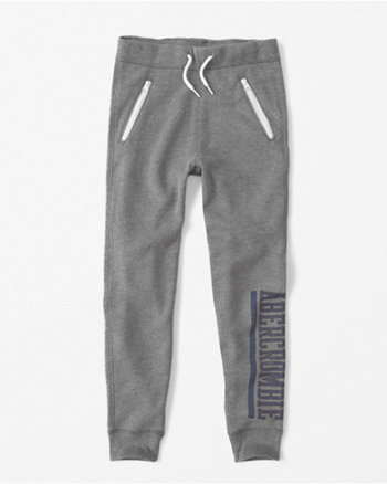 kids zipper logo joggers