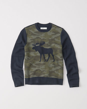 kids camo crew sweater