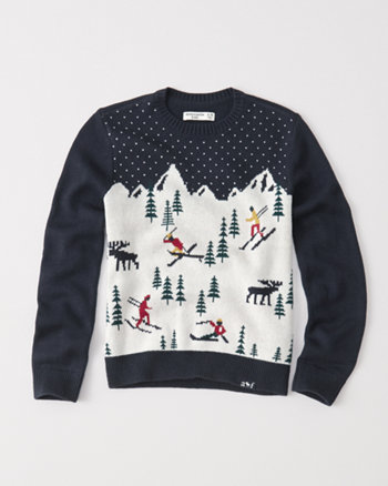 kids ski pattern crew sweater