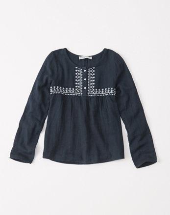 kids long-sleeve woven top