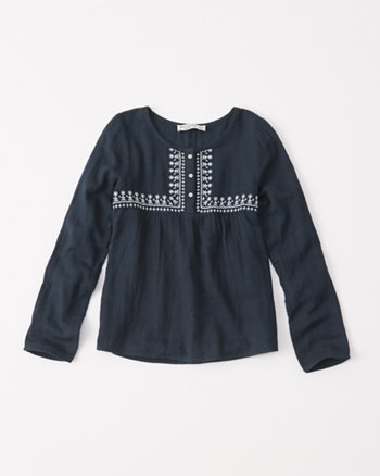 kids long-sleeve woven top