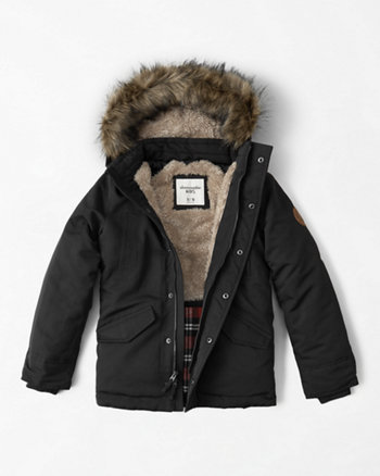 kids faux fur trim parka jacket