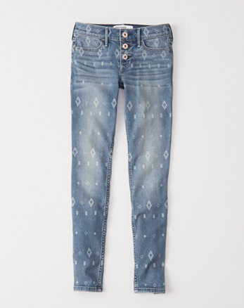 kids printed super skinny jeans