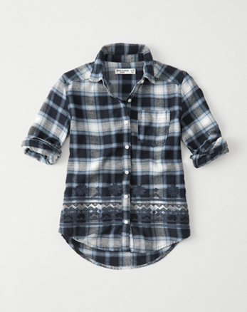 kids embroidered flannel shirt