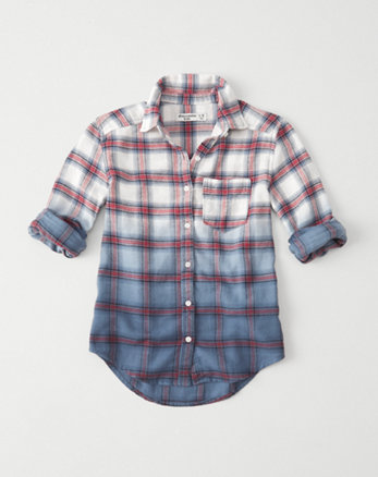 kids dip dye flannel shirt