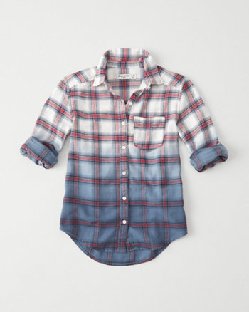 kids dip dye flannel shirt