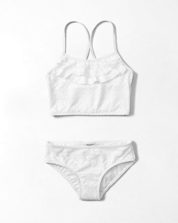 kids long line lace two piece swimsuit