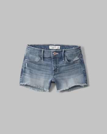 kids a&f shortie fray denim shorts