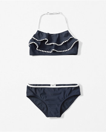 kids ruffle halter two piece swimsuit