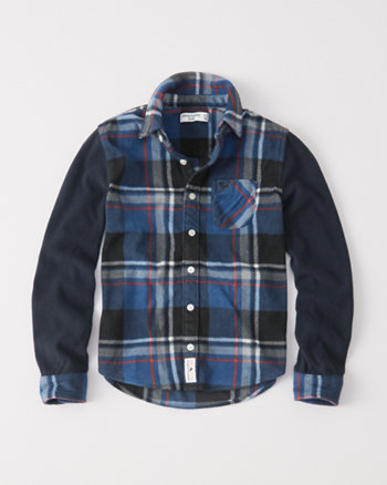 kids plaid winter fleece shirt