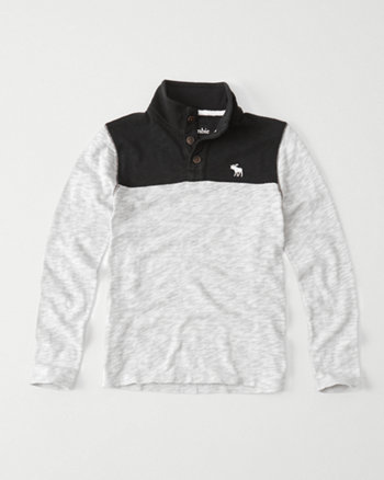 kids slub mock neck henley