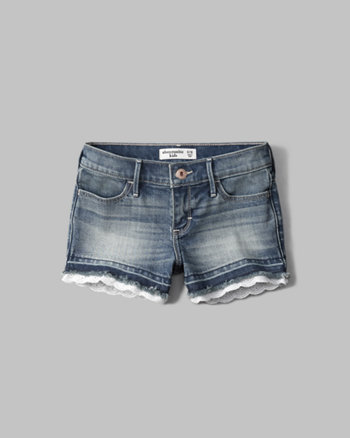 kids a&f lace shortie denim shorts