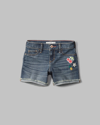 kids patch denim midi shorts