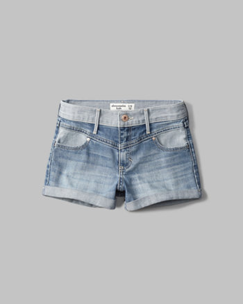 kids high rise yoke denim shorts