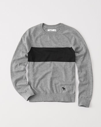 kids chest stripe crew sweater