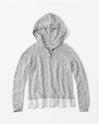 kids hooded henley sweater