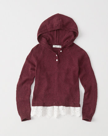kids hooded lace-hem sweater