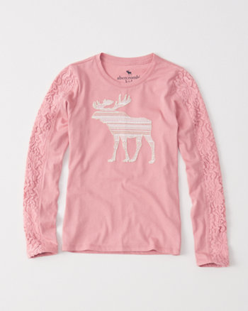kids long-sleeve lace graphic tee