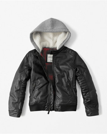 kids faux leather twofer jacket