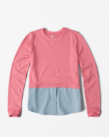 kids twofer button long-sleeve tee