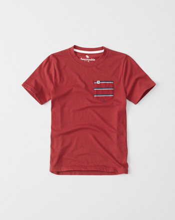kids pattern pocket crew tee