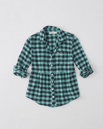 kids peplum waisted plaid flannel shirt