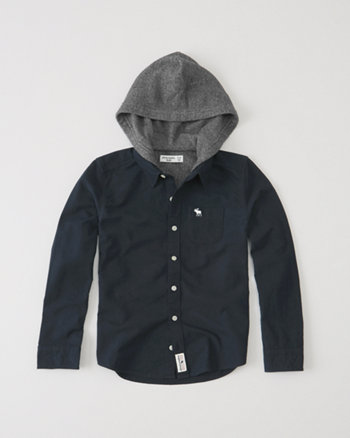 kids fleece-lined hooded shirt