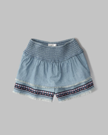 kids chambray ruffle shorts