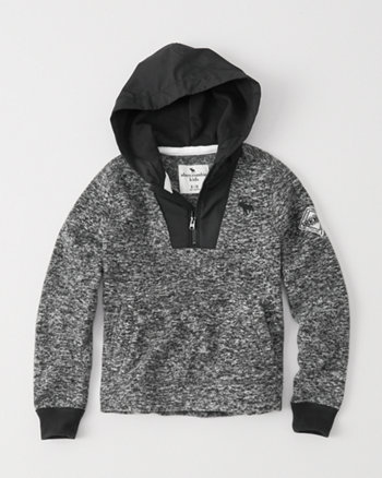 kids half-zip winter fleece hoodie