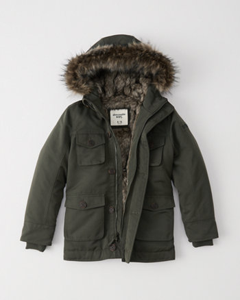 kids military faux fur parka