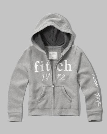 kids shine logo full-zip sweatshirt