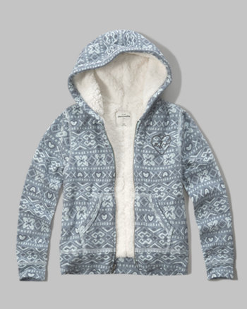 kids sherpa lined shine logo hoodie