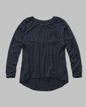 kids lace panel pocket tee