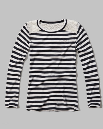kids striped lace trim ribbed tee