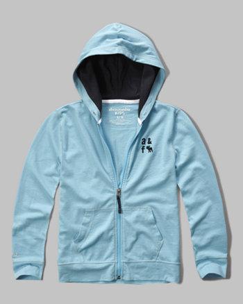 kids contrast lining full zip hoodie
